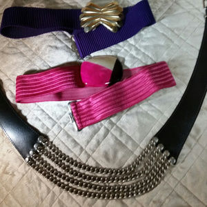Vintage belt bundle (3) Purple, pink, black